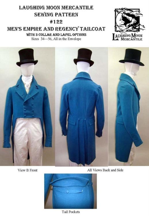 Men\'s Empire & Regency Tailcoat Coat Sewing Pattern #122 (Pattern Only)