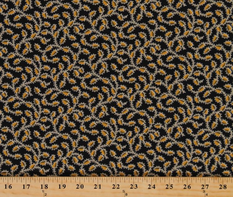 Cotton Mid Century Modern Vines Leaves On Black Botanical Fl Fabric Print By The Yard 3727