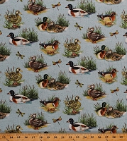 Cotton Wood Ducks Mallards Water Fowl Birds Dragonflies Lake Pond Marsh Swamp Wildlife Animals Stoney River Cotton Fabric Print by the Yard (21118-42-BLUE)