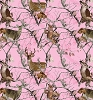 Fleece (not for masks) Realtree Camo Deer Bucks Doe on Pink Camoflage Fleece Fabric Print by the Yard a1462s