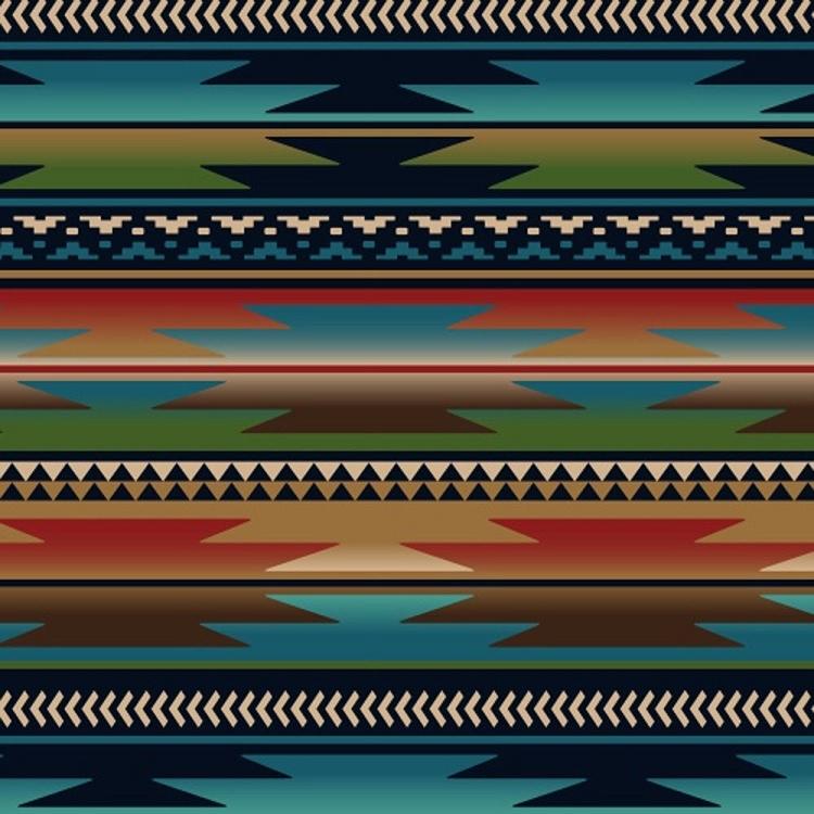 Sunset Strip Blue Southwest Fleece Fabric Print By The