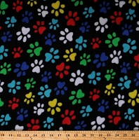 Fleece (not for masks) Paw Prints Pawprints Multi-Color Paws on Black Dogs Pets Animals Fleece Fabric Print by the Yard (50752b)