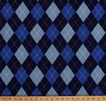 Fleece Blue Classic Argyle Check Diamonds Fleece Fabric Print by the Yard o44155-3b