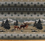Fleece (not for masks) Rocky Mountain Deer Mountains Rockies Wildlife Pine Trees Snow Snowflakes Winter Animals Fleece Fabric Print by the Yard a42306xb