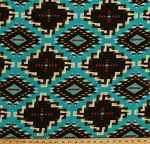Fleece Spirit Link Southwestern Native American Diamonds Pattern Turquoise Fleece Fabric Print by the Yard o46386-1b