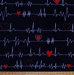 Fleece Heartbeat Hearts Pulse Navy Blue Fleece Fabric Print by the Yard o44151b