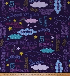 Fleece Sleep Sleeping Tired Words Sayings Quotes Good Night Naps Naptime Bedtime Dreams Clouds Stars Rainbows Mornings 5 More Minutes Purple Girls Kids Children's Fleece Fabric Print by the Yard (47077-1b)