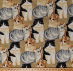 Fleece (not for masks) Cats Kittens Kitty Kitties Felines Pets Animals Gray Orange Black and White Cats on Beige Fleece Fabric Print by the Yard (43432-5b)