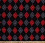 Fleece Classic Argyle Black Gray Red Argyle Check Diamonds Fleece Fabric Print by the Yard o44155-1b