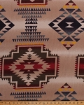 Fleece Southwestern Stripe Southwest Native American Aztec Tribal Windrunner Tan Fleece Fabric Print by the Yard 34335-5b