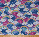 Fleece Rainbows Clouds Stars Sky Pink Blue Green Yellow Kids Children's Baby Babies Fleece Fabric Print by the Yard (43428-2b)