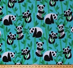 Fleece (not for masks) Pandas Panda Bears Animals Climbing Trees Bamboo Forest on Blue Fleece Fabric Print by the Yard (50737-1b)