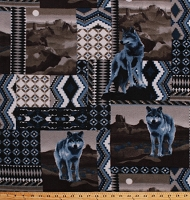 Fleece (not for masks) Wolves Wolf Animals Southwestern Desert Patchwork-Look Native American Tribal Brown Gray Blue Fleece Fabric Print by the Yard (50738-1b)