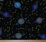 Saturn Planets Stars Outer Space Fleece Fabric Print By the Yard (o26578b)