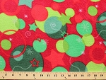 Fleece Christmas Snowflakes Ornaments Holiday Stars Green on Red Fleece Fabric Print by the Yard (8490Z-11H)