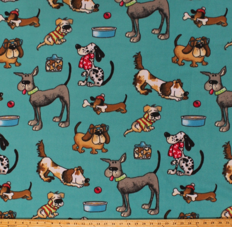 Fleece funny dogs wearing scarves sweaters glasses puppy for Fleece fabric childrens prints