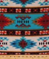 Fleece Tribal Stripe Southwestern Native American Aztec Turquoise Rust Stripes Diamonds Fleece Fabric Print by the Yard (DT-5219-DB-10TURQ/RUST)
