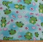 Fleece Frogs Flowers Butterfly Butterflies Dragonflies Kids Girls Blue Fleece Fabric Print by the Yard (5057M-12A-frogs)
