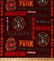Fleece Firefighters Words Badges Fireman Fire Fighter Red Fleece Fabric Print by the Yard (1196s)