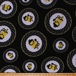 Fleece Minions Medallions Circles Despicable Me 3 Characters Guns Secret Agents Kids Children's Fleece Fabric Print by the Yard (78681-J)