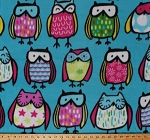 Fleece (not for masks) Colorful Owls Birds Animals Multi-Colored Owls on Blue Standing Owlies Kids Children's Girls Fleece Fabric Print by the Yard (DT-6176-MA-1AQUA)