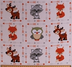 Fleece (not for masks) Foxes Raccoons Owls Deer Woodland Forest Animals Arrows Buddies on Cream Fleece Fabric Print by the Yard (DT5369-ma-1d)