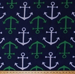 Nautical Anchors Navy Fleece Fabric Print by the Yard (DT-4262-5A)