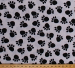 Fleece Paw Prints Dogs Pets Black Paws on White Animal Fleece Fabric Print by the Yard adt-3842-ma-1d