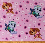 Fleece Paw Patrol Pup Power Rescue Dogs Skye Everest Flowers Hearts on Light Pink Kids Girls Fleece Fabric Print by the Yard (PW-4048-5A-3)