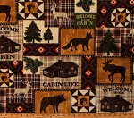 Fleece Cabin Life Cabins Animals Moose Deer Wolves Camping Northwoods Patch Fleece Fabric Print by the Yard (5308B-3B)