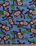 Fleece Monkeys Jungle Safari Animals Vines on Blue Kids Children's Fleece Fabric Print by the Yard (5057M-12A)