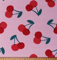 Fleece Cherries Cherry Red Fruits Food on Pink Grid Fleece Fabric Print by the Yard (6744S-1C-cherry)