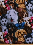 Fleece (not for masks) Dogs Puppy Animals Pets Roses Bows Baskets Valentine's Puppies Fleece Fabric Print by the Yard (AL-2002-MA-1MULTI)