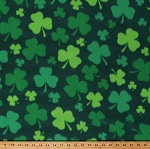 Fleece Shamrocks Lucky Clovers Four-Leaf Clovers Saint Patrick's Day Green Fleece Fabric Print by the Yard (6308M-10B)