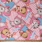 Fleece (not for masks) Teddy Bears Stuffed Animals Bunnies Kittens Mouse Teddies Babies Toys Baby Girls Pink Patchwork-Look Fleece Fabric Print by the Yard (6744S-1C-teddy)