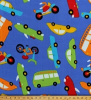 Fleece Vehicles Cars Buses Motorcycles Bicycles Bikes Transportation Blue Children's Fleece Fabric Print by the Yard (6877M-3C)