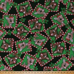 Fleece Rudolph and Clarice Frames Squares Red-Nosed Reindeer Animals Holly Leaves Berries Christmas Winter Holiday Inspirations Kids Children's Green Red Fleece Fabric Print by the Yard (k76907Fb)