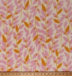Fleece Pink Orange Leaves Leaf Vines on Cream Lindy Leaf Tangerine Fleece Fabric Print by the Yard (FLHB001-Tangerine)