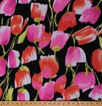 Fleece (not for masks) Tulips Tossed Tulip Flowers Spring Floral on Black Fleece Fabric Print by the Yard (4902M-12A-tulipsblack)
