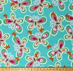Fleece Butterfly Multi-Colored Butterflies Insects on Aqua Blue Fleece Fabric Print by the Yard (6134F-10B)