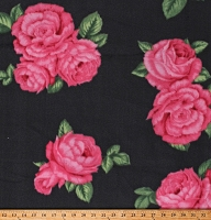 Fleece Bohemian Roses Pink Flowers Floral on Gray Fleece Fabric Print by the Yard (DT-6141-MA-1GRAY)
