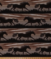 Fleece Horses Wild Horses Running Equestrian Animals Brown Fleece Fabric Print by the Yard (A338.13)