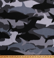 Fleece (not for masks) Shark Camo Sharks Hammerheads Ocean Animals Black Gray Camouflage Fleece Fabric Print by the Yard (DT-3267-DB-2BLACK)