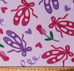 Fleece Ballet Slippers Pink Purple Dance Shoes Hearts Flowers Ballerina Dream Girls Pink Fleece Fabric Print by the Yard (DX-0071-DB-1PINK)
