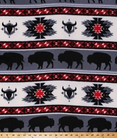 Fleece Buffalo Tribal Stripes Bison Longhorn Southwestern Southwest Native American Aztec Red Gray Fleece Fabric Print by the Yard (DT-6143-MA-1RED/GRAY)