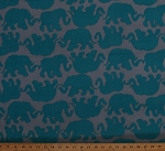 Fleece (not for masks) Elephants Elephant Herd Animals Turquoise Elephants on Gray Grey Fleece Fabric Print by the Yard (kPF1130-592R)