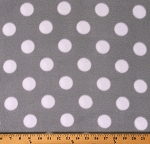 Fleece Polka Dots White Circles Spots on Gray Fleece Fabric Print by the Yard (DT-5372-MA-4GRAY/WHITE)