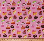 Fleece (not for masks) Cakes Cake Slices Pieces Pies Brownies Cherry Strawberry Chocolate Desserts Sweets Treats Birthday Tea Party Food on Pink Baking Bakery Kitchen Fleece Fabric Print by the Yard (opf1083-592r)