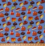 Fleece (not for masks) Cakes Cake Slices Pieces Pies Brownies Cherry Strawberry Chocolate Desserts Sweets Treats Birthday Tea Party Food on Blue Baking Bakery Kitchen Fleece Fabric Print by the Yard (opf1084-592r)