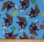 Fleece Thomas Trains Railroad Signs Thomas and Friends Thomas the Tank Engine Kids Children's Blue Fleece Fabric Print by the Yard (8030-76906-B)